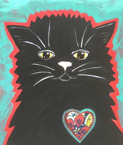 """BLACK CAT LOVE"" - Painting by Beth Gumnick"