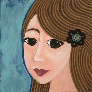"""BROWN EYED GIRL"" w/ Sparkley Brooch - by Beth Gumnick"
