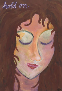 """HOLD ON""  - Acrylic Portrait by Beth Gumnick - Was $45 - Save $15"
