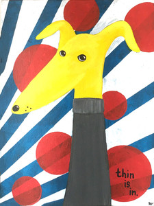 """THIN IS IN"" Colorful Painting by Beth Gumnick"
