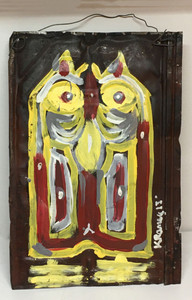 OWL  PAINTING #9 on Roofing Tin by Kip Ramey