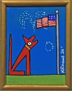 REX and the DOG and AMERICAN FLAG  by Kip Ramey
