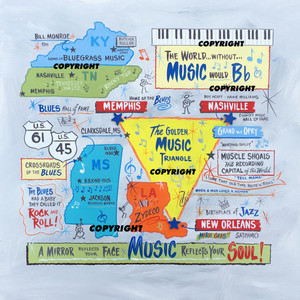 MUSIC TRIANGLE PAINTING -  Memphis - Nashville - New Orleans  -SAVE $100 - NOW $295