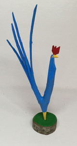 Carved Tree Limb BLUE ROOSTER - #104 by Minnie Adkins