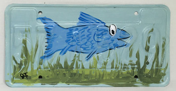 BLUE FISH Painted License Plate by John Taylor