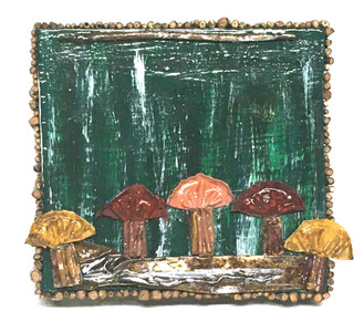 Bottle Cap MUSHROOMS Plaque by Deane Bowers