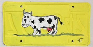 SPOTTED COW License Plate by John Taylor