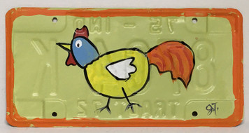 CHICKEN Painted License Plate by John Taylor