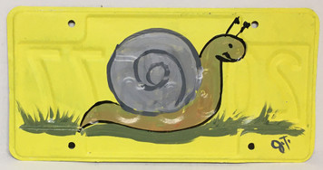 SNAIL PAINTED LICENSE PLATE by John Taylor