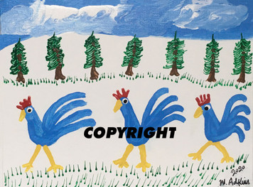 3 BLUE ROOSTERS PAINTING by Minnie Adkins - Was $75 - Now $60