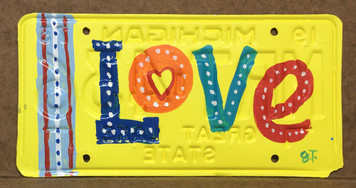 """LOVE"" _ Painted License Plate by By John Taylor"