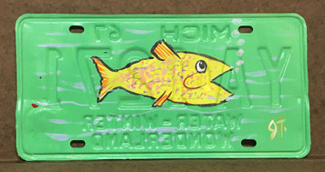 FISH PAINTED LICENSE PLATE by John Taylor