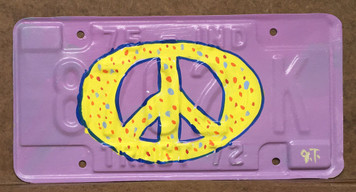 COLORFUL PEACE SIGN - License Plate - by John Taylor