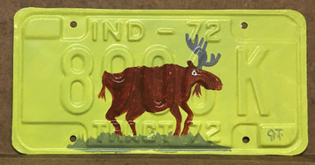 PAINTED MOOSE - LICENSE PLATE by John Taylor