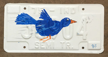 BLUEBIRD - PAINTED LICENSE PLATE by John Taylor