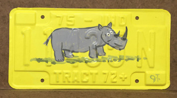 RHINO - PAINTED LICENSE PLATE by John Taylor