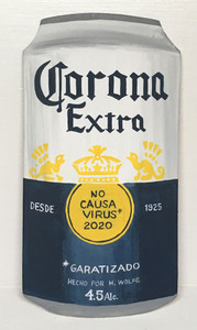 CORONA EXTRA BEER CAN - Will NOT cause the Virus - By Heidi Wolfe