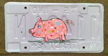 Polka-Dotted PIG LICENSE PLATE by John Taylor