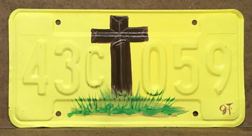 CROSS PAINTED LICENSE PLATE by John Taylor
