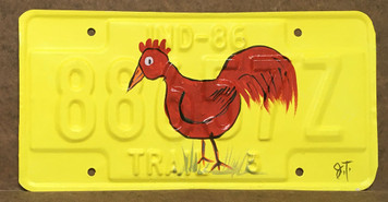 RED ROOSTER PAINTED LICENSE PLATE by John Taylor