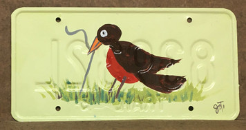 ROBIN w/ WORM LICENSE PLATE by John Taylor
