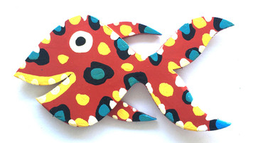 "15""  RED FISH CUT-OUT BY BEBO"