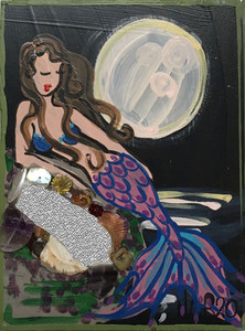 BRUNETTE MERMAID w/ PINK MOON by Nina O'Reilly