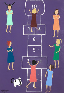 GIRLS PLAYING HOPSCOTCH by Jimmy W