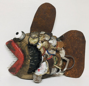 SCRAP ART - CARVED WOOD FISH - Found Objects by Steve Meadows - C