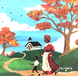 LADY & BOY GOING TO CHURCH by Richard Roebuck