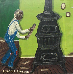 MAN and STOVE PAINTING. by Richard Roebuck