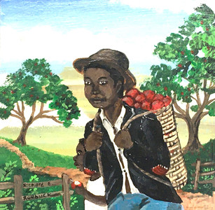 MAN w/BACKPACK of APPLES by Richard Roebuck