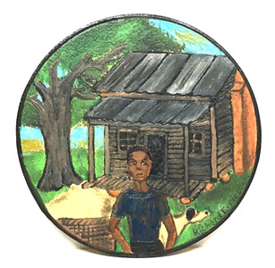 BOY & DOG - CABIN- Round Wood Plaque - Richard Roebuck