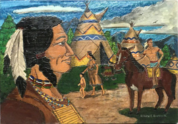 INDIAN VILLAGE - Carved & Painted - A Masterpiece by Richard Roebuck