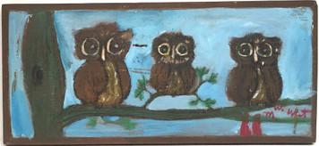 THREE OWLS on a LIMB by Myrtice West