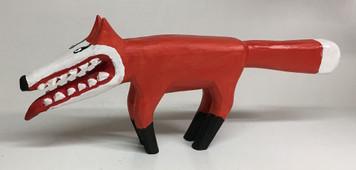 Wood Carved Fox by Minnie Adkins