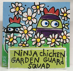 NINJA CHICKEN GARDEN GUARDS by Ken Pease