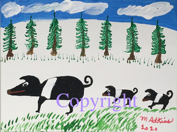 SOW & BABIES PAINTING - 24 - by Minnie Adkins