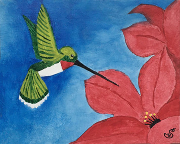 HUMMINGBIRD & Flowers by Sharon Boggs