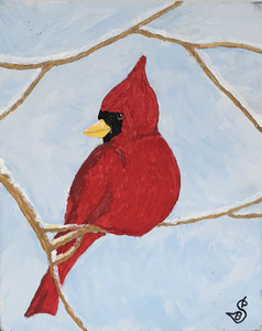 RED BIRD - CARDINAL on Canvas Board by Sharon Boggs