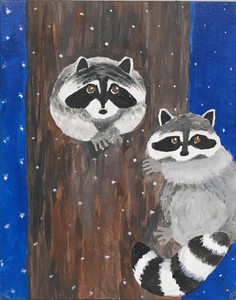TWO RACCOONS in a tree - By Sharon Boggs