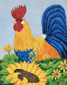 ROOSTER and SUNFLOWERS by Sharon Boggs
