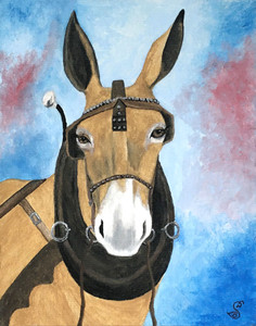 MULE (DONKEY) in HARNESS by Sharon Boggs