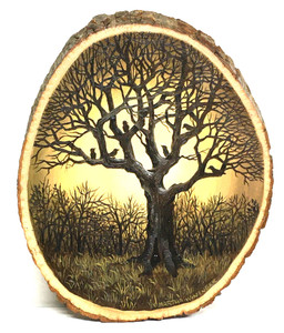 TREE with BLACKBIRDS - Oil Painting on Wood Slice by Martha Winenger.