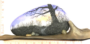 Beautiful Tree painting on Rock with Driftwood base by Martha Winenger.