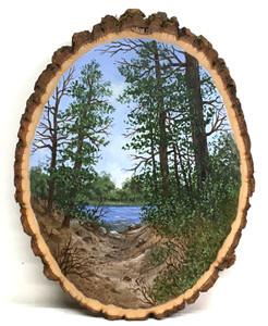 LAKE & WOODS SCENE on a Wood Slice by Martha Winenger.