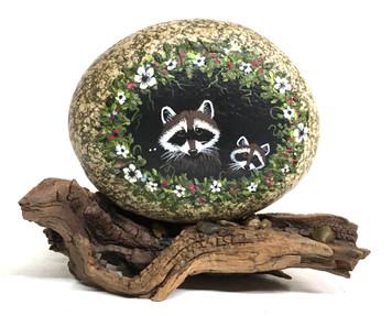 RACCOONS with Flower Trim by Martha Winenger