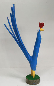 BRIGHT BLUE TREE LIMB ROOSTER #7 -   by Minnie Adkins