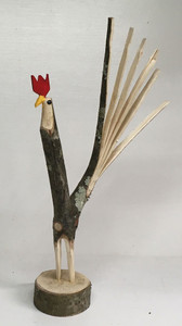 NATURAL FINISH TREE LIMB ROOSTER #12 -  by Minnie Adkins