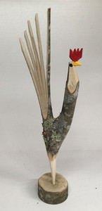 NATURAL FINISH TREE LIMB ROOSTER #13 -  by Minnie Adkins
